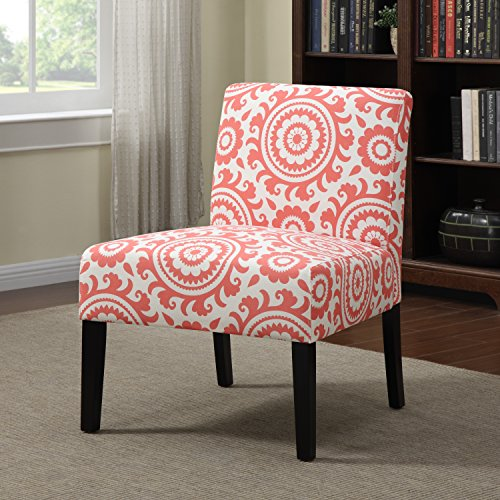 Awesome Portfolio Niles Pink Coral Medallion Armless Accent Chair Kitchen Furniture Orange