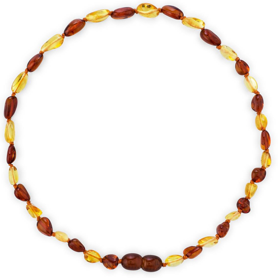 Amber Teething Necklace for Babies (Unisex) (Olive Lemon/Cognac) - Anti Inflammatory, Drooling & Teething Pain Reduce Properties - Natural Certificated Oval Baltic Jewelry with The Highest Quality by Baltic Wonder (Image #2)