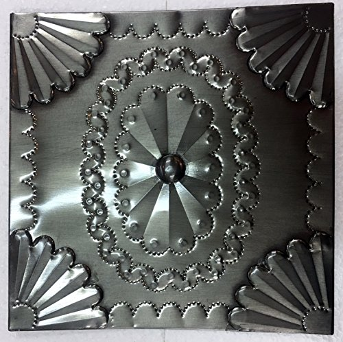8x8 Decorative Tin Panel Hand Punched Tarnished Pewter Tin Traditional