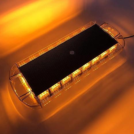 "60 LED 21/"" Amber Traffic Emergency Wrecker Flash Roof Mini Warn Strobe Light Bar"