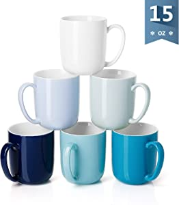 Sweese 604.003 Porcelain Mugs for Coffee, Tea, Cocoa, 15 Ounce, Set of 6, Cool Assorted