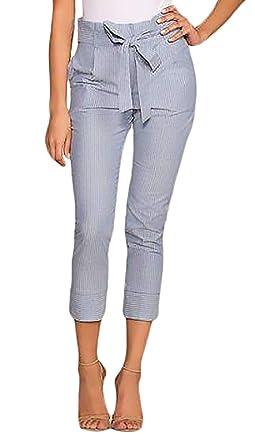 Pantalons Crayon Printemps Eté Elégante Taille Haute Unicolore Capri  Fashion Slim Fit Pantalon Droit Basic Pantalon 21425149aab9