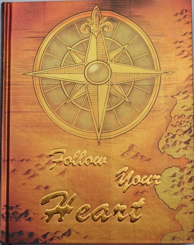 "de tapa dura Cuaderno // Diario con dicho /""Follow Your Heart/"" con escritura de oro edici/ón limitada p/áginas en blanco color marr/ón oro met/álico"