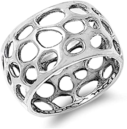 Glitzs Jewels 925 Sterling Silver Ring Freeform Holes Cute Jewelry Gift for Women in Gift Box