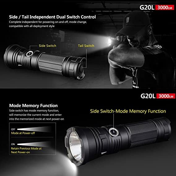Klarus g20l torch 3000 lumen cree xhp70 2 p2 led super bright torches usb rechargeable powerful flashlight for outdoor sports police search and rescue etc