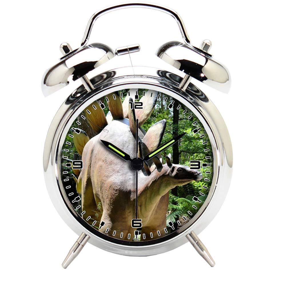 Children's Room Silver Dinosaur Silent Alarm Clock Twin Bell Mute Alarm Clock Quartz Analog Retro Bedside and Desk Clock with Nightlight-497.601_Dinosaurs, Prehistoric, Animal, Amersfoort, Predators