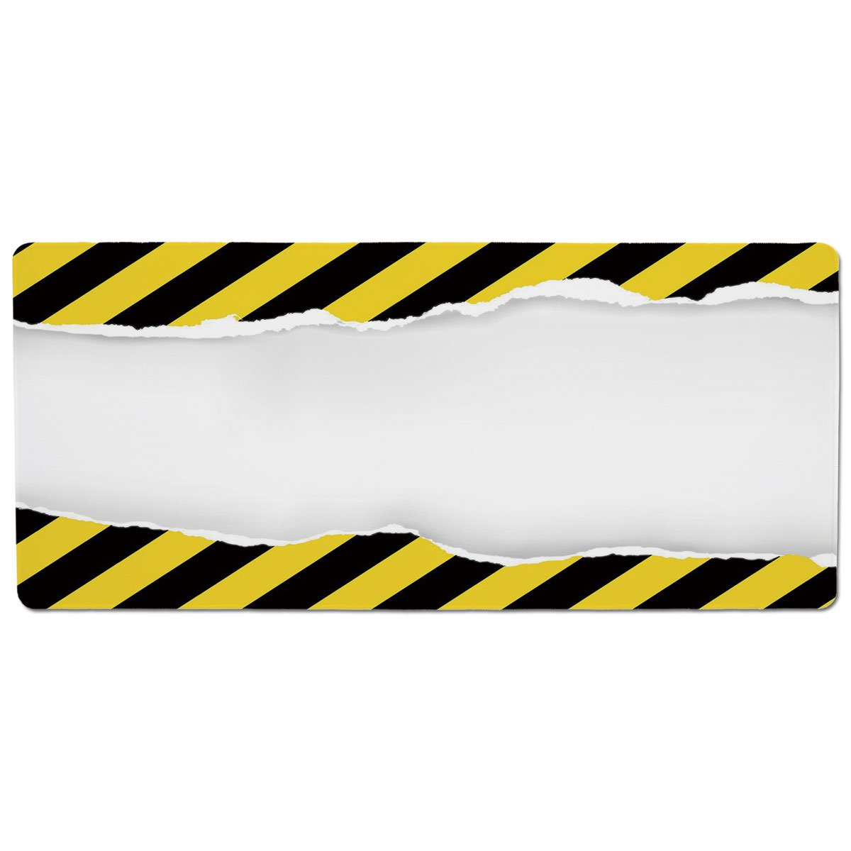 35.4\ iPrint Pet Mat for Food and Water,Construction,Ripped Paper with Construction Sign Safety Warning Alert Framework Decorative,Yellow Black White,Rectangle Non-Slip Rubber Mat for Dogs and Cats