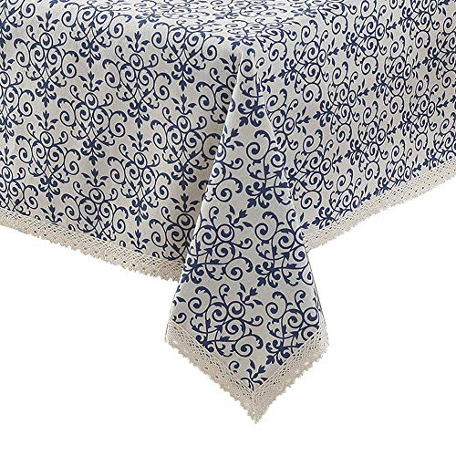 ColorBird Vintage Navy Damask Pattern Decorative Macrame Lace Tablecloth Heavy Weight Cotton Linen Fabric Decorative Table Top Cover (55 Inch x 98 Inch)