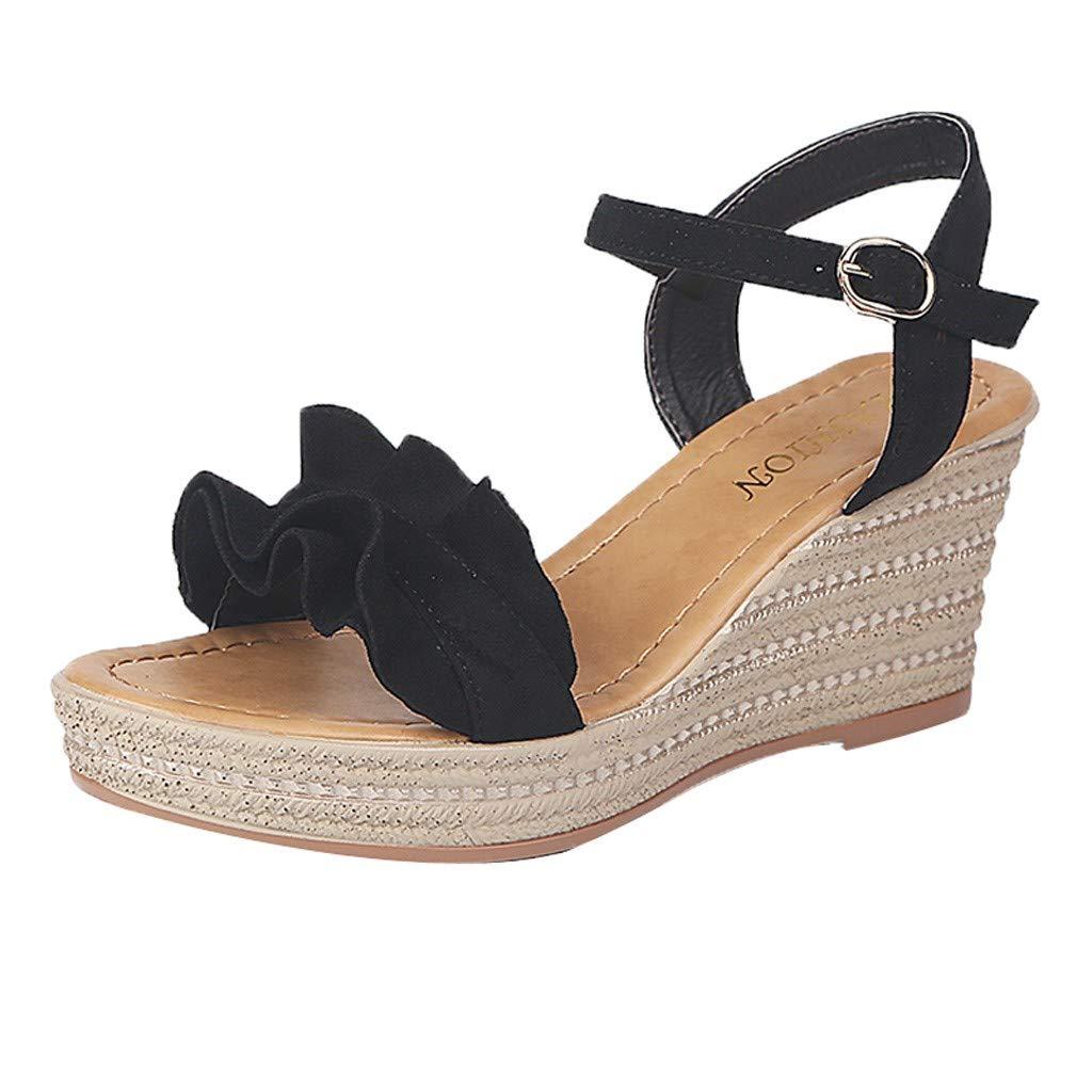 Orangeskycn Women Sandals Summer Gladiator Wedge Peep Toe Waterproof Platform Shoes Roman Muffin Casual Beach Shoes Black