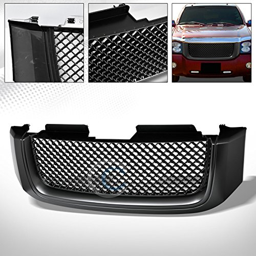 GMC Envoy Matte Black Finished Sport Mesh Hood Bumper Front Grille Grill Replacement Upgrade ()