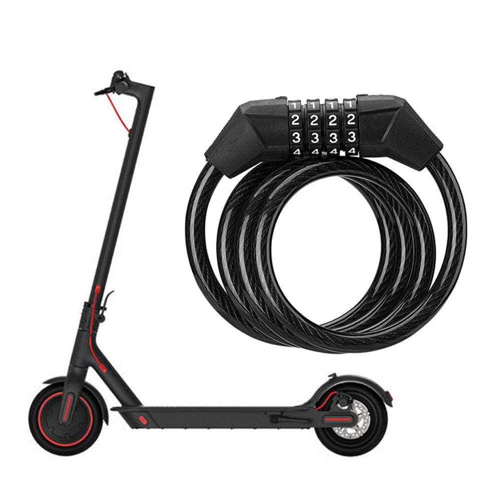 Balight 1PCS para Xiaomi M365 Scooter el/éctrico Cable de Acero Contrase/ña Lock Cuatro Candado Antirrobo 3 Colores