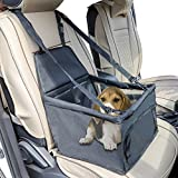 EcoBR Black Pet Booster Dog Car Seat Cover Portable Breathable Bag Travel Front Back Clip-On Safety Leash Zipper Storage Pocket Small Medium Pets up 11 lbs