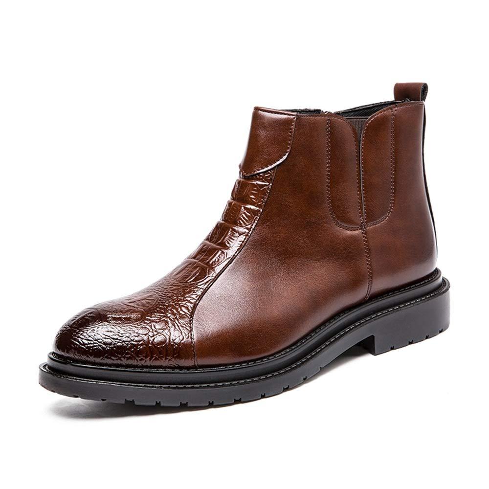 Shufang-schuhe Herren-Stiefeletten, modisch, mit Nähten für praktische Reißverschlüsse, hohe Stiefel, Stiefel, Stiefel, PU-Leder, braun, UK 7   EU 40 9f06fb