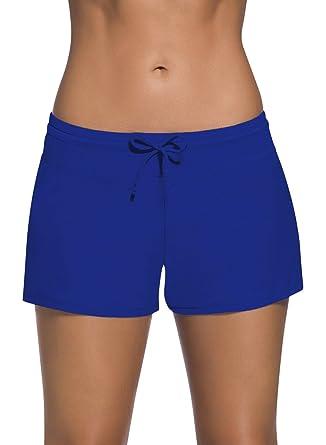 f96bf22ef8df Dolamen Mujer Shorts de baño, Trajes de baño Bañador Deportivo Traje de  Baño Bañador de natación Bikini para Mujer Bragas Pantalones Cortos, con ...
