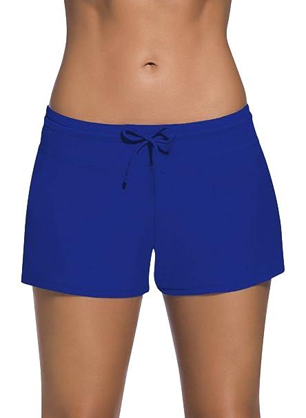 Dolamen Mujer Shorts de baño, Trajes de baño Bañador Deportivo Traje de Baño Bañador de natación Bikini para Mujer Bragas Pantalones Cortos, con ...
