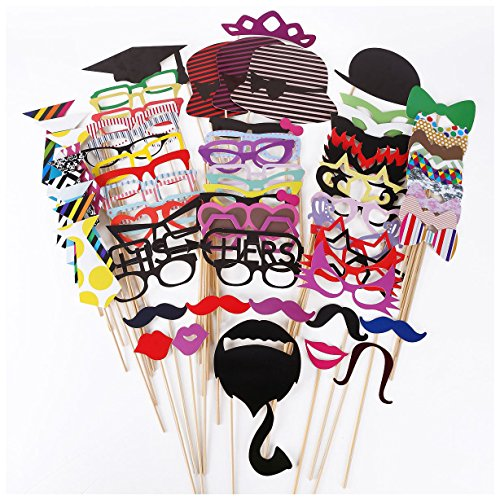 Bopstyle Photo Booth Props 76 Pieces DIY Kit for Weddings, Photo Shoots & Special Events Party Favors Christmas Xmas - Fun Dress To Celebrities As Up