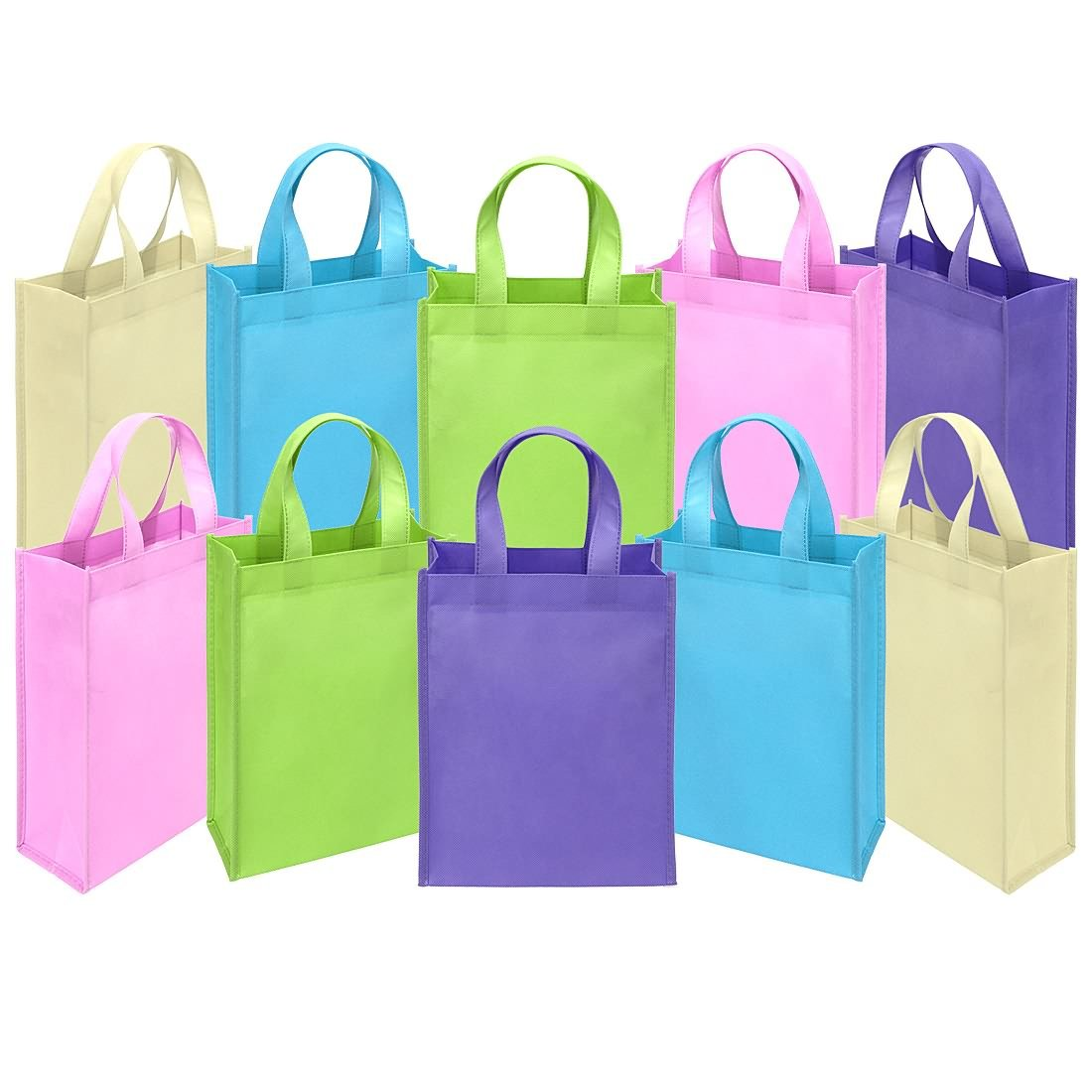 Ava & Kings Fabric Tote Party Favor Goodie Gift Bags for Candy, Treats, Toys, Loot - Birthdays, Showers, Easter, Halloween, Lunch, Grocery - Set of 10 - Plain Pastel Colors by Ava & Kings