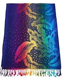 CJ Apparel Royal Blue Feather Design Shawl Pashmina Scarf Wrap Stole Seconds NEW