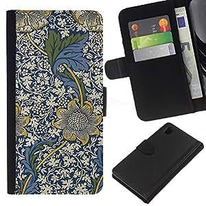 iBinBang / Flip Funda de Cuero Case Cover - Azul Diseño floral Flores blancas - Sony Xperia Z1 L39H
