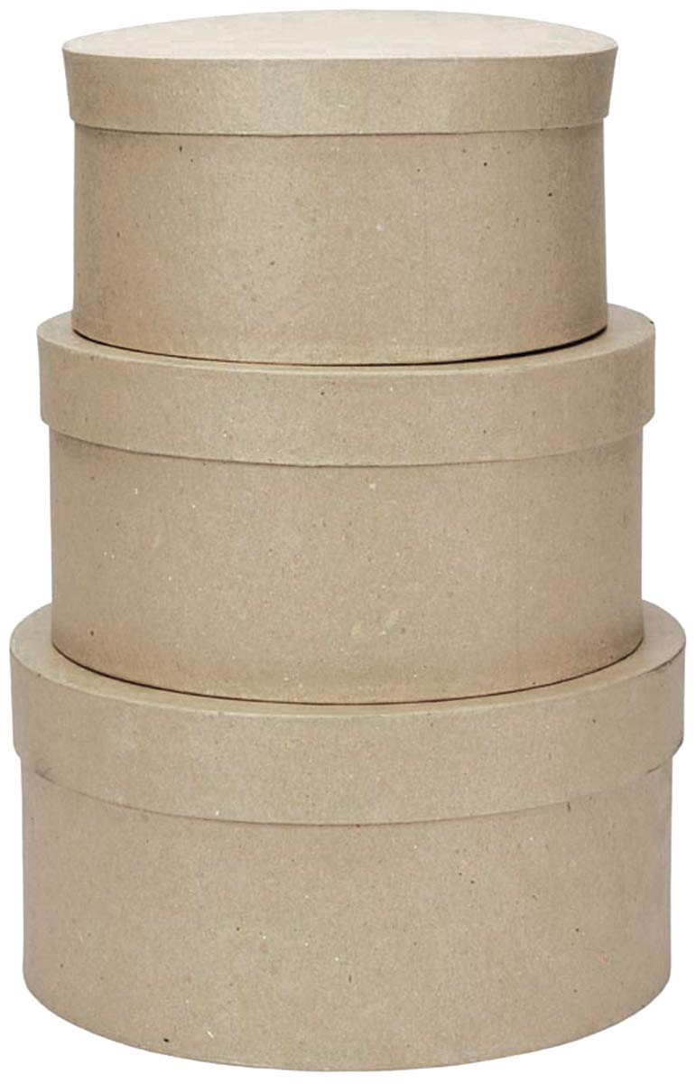 Darice Paper Mache Round Box Set 8 Inches 9 Inches and 10 Inches (8 Pack)