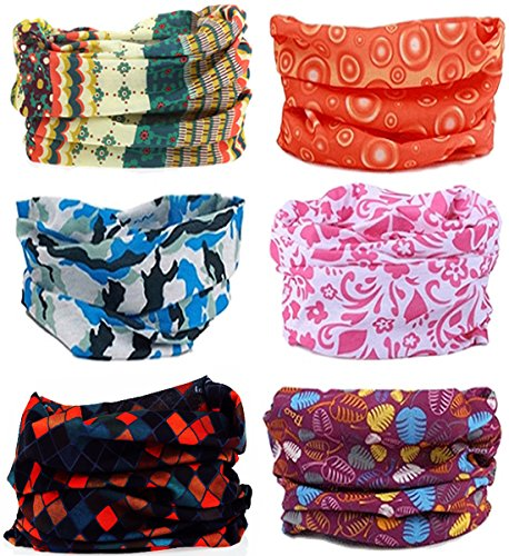 (SmilerSmile 9pcs Assorted Seamless Outdoor Sport Bandanna Headwrap Scarf Wrap, 12 in 1 High Elastic Magic Headband & Collars Muffler Scarf Face Mask with UV Resistance (6PCS-Print 4))
