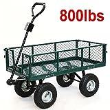 Cart Yard Garden Utility Wagon Dump Lawn Heavy Duty Wheelbarrow Trailer Steel