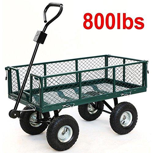 Utility Wagon Garden Cart Towable Cart Dump Lawn Heavy Duty Buggy Wheel Trailer Steel