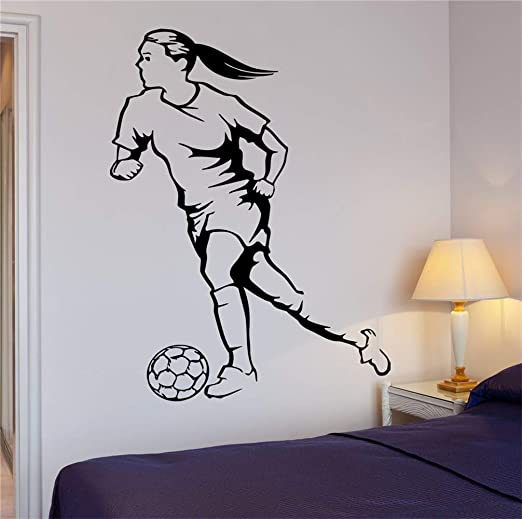 pegatina de pared pegatina de pared 3d Fútbol mujer balón de ...