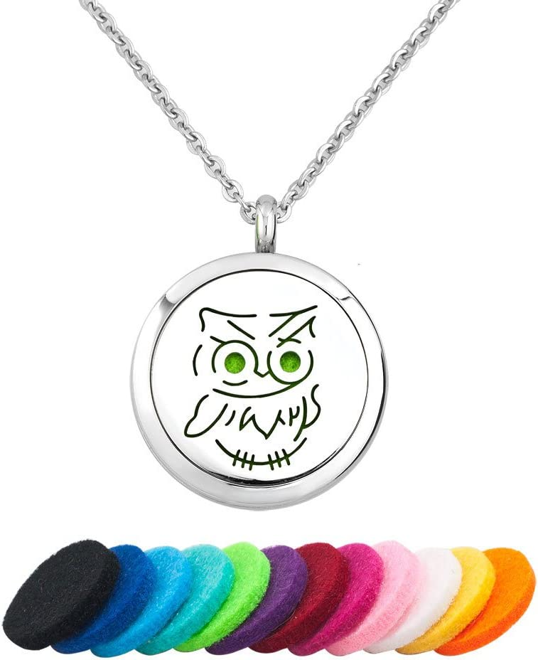 Third Time Charm Cute Owl Necklace For Essential Oil Diffuser Locket Aromatherapy Jewelry, 12 Refill Pads