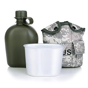 FELDFLASCHE BECHER Wasserflasche Kunststoff Campinggeschirr Wandern Outdoor