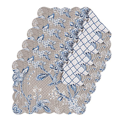 Annabelle Blue 13x19 Quilted Rectangular Placemat Set of 6