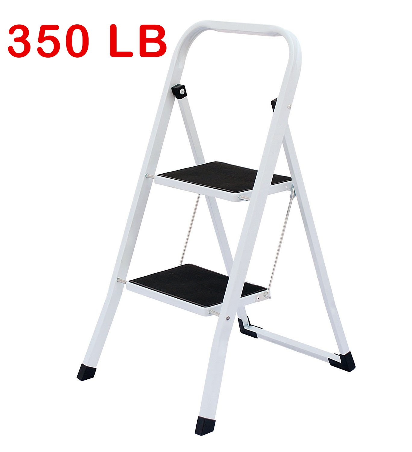 Uniware Heavy Duty Steel Step Ladder with Anti Slip Floors, Max Weight 150 KG/330 LB (2 Step Ladder)