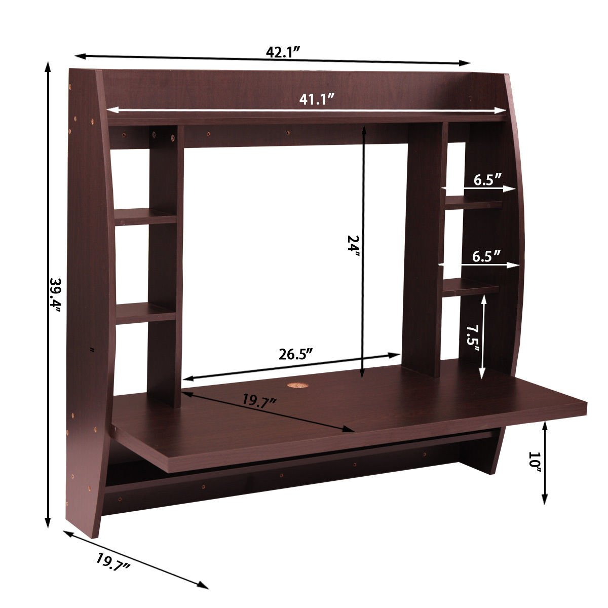 JAXPETY Wall Mounted Floating Computer Desk With Storage Shelves Home Work Station in Brown