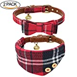 #6: B Bascolor Pet Collar with Bell Leather and Plaid Bowtie Bandana Adjustable Collars for Puppy Dogs Cats Kittens