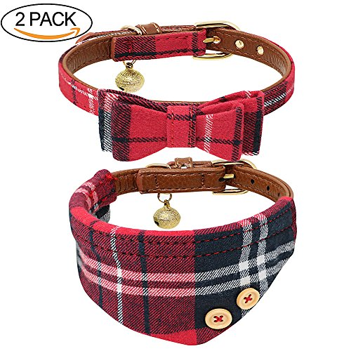 B Bascolor Pet Collar with Bell Leather and Plaid Bowtie Bandana Adjustable Collars for Puppy Dogs Cats Kittens