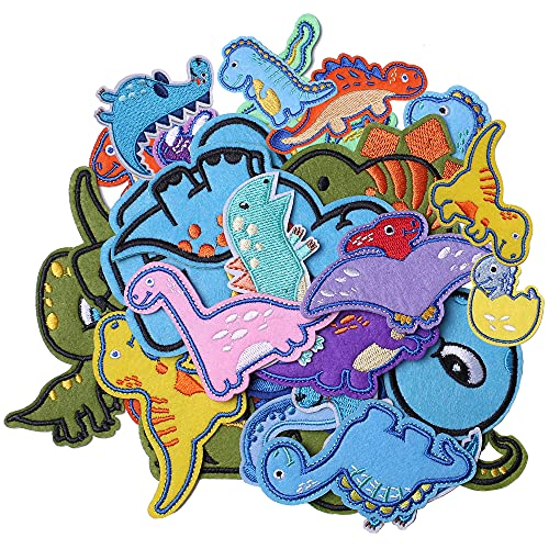 J.CARP 26Pcs Dinosaur Embroidered Iron on Patch for Clothes, Iron-on Patches / Sew-on Appliques Patches for Clothing, Jackets, Backpacks, Caps, Jeans