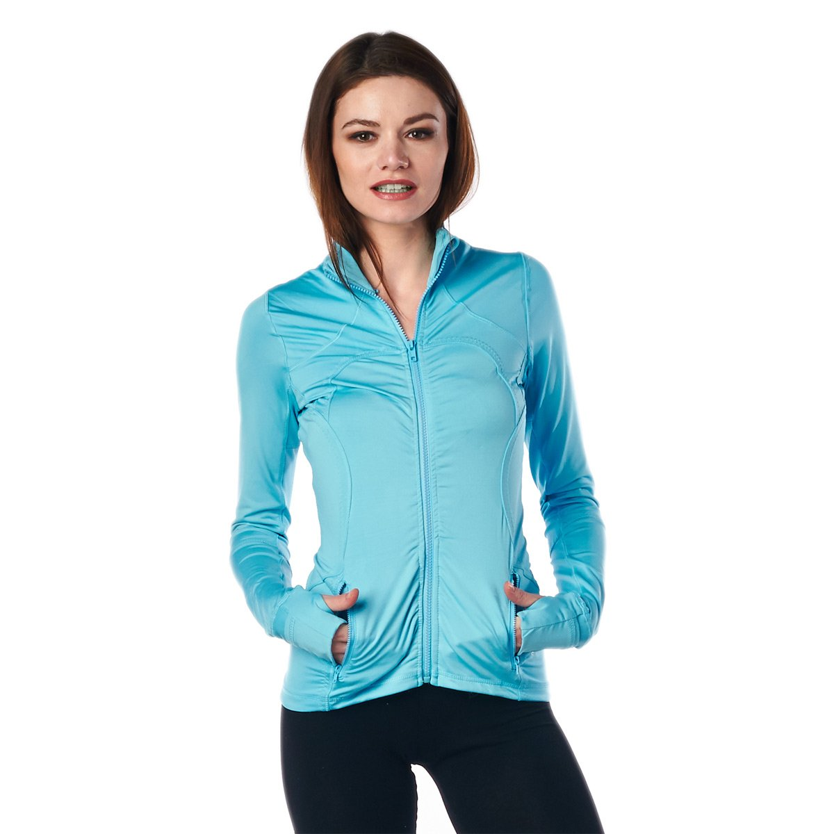 LA Society Womens Yoga Sport Fitness Jacket in Turquoise - Small