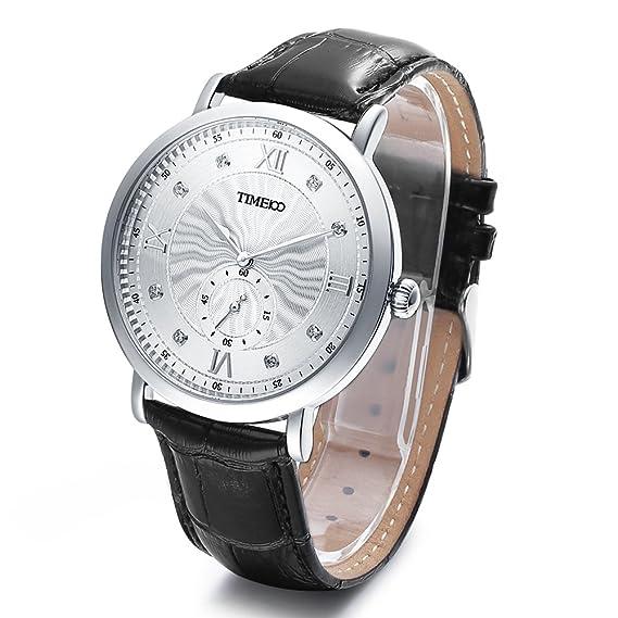 Time100 Reloj de hombres de diseño de los números romanos y la correa de cuero genuino reloj de cuarzo ocn segundero: Amazon.es: Relojes