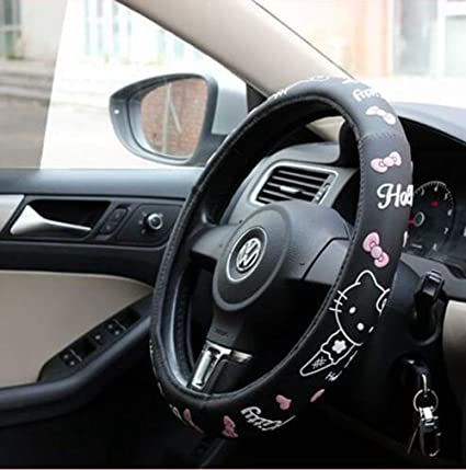 Gadgets Wrap 15inch Universal Car Steering Wheel Cover Hello Kitty