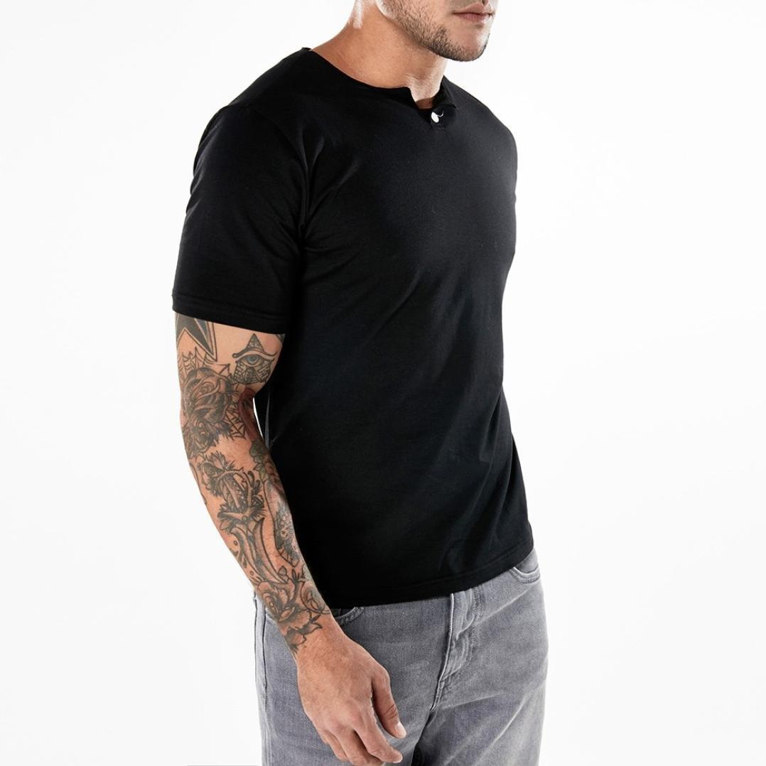 BSGSH Mens Short Sleeve V Neck Henley Shirts Slim Fit Casual Solid Summer Tee T-Shirt