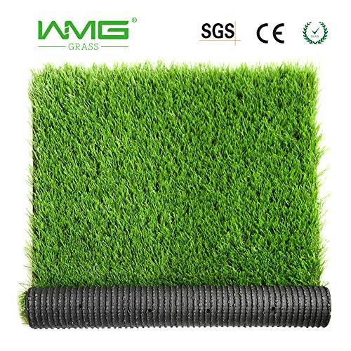 WMG Artificial Grass w/Drainage Holes & Rubber Backing 3'x5' Realistic Synthetic Artificial Turf Soft Pet Turf Fake Grass for Patio Yard Balcony Indoor/Outdoor Décor, 1 Pack...