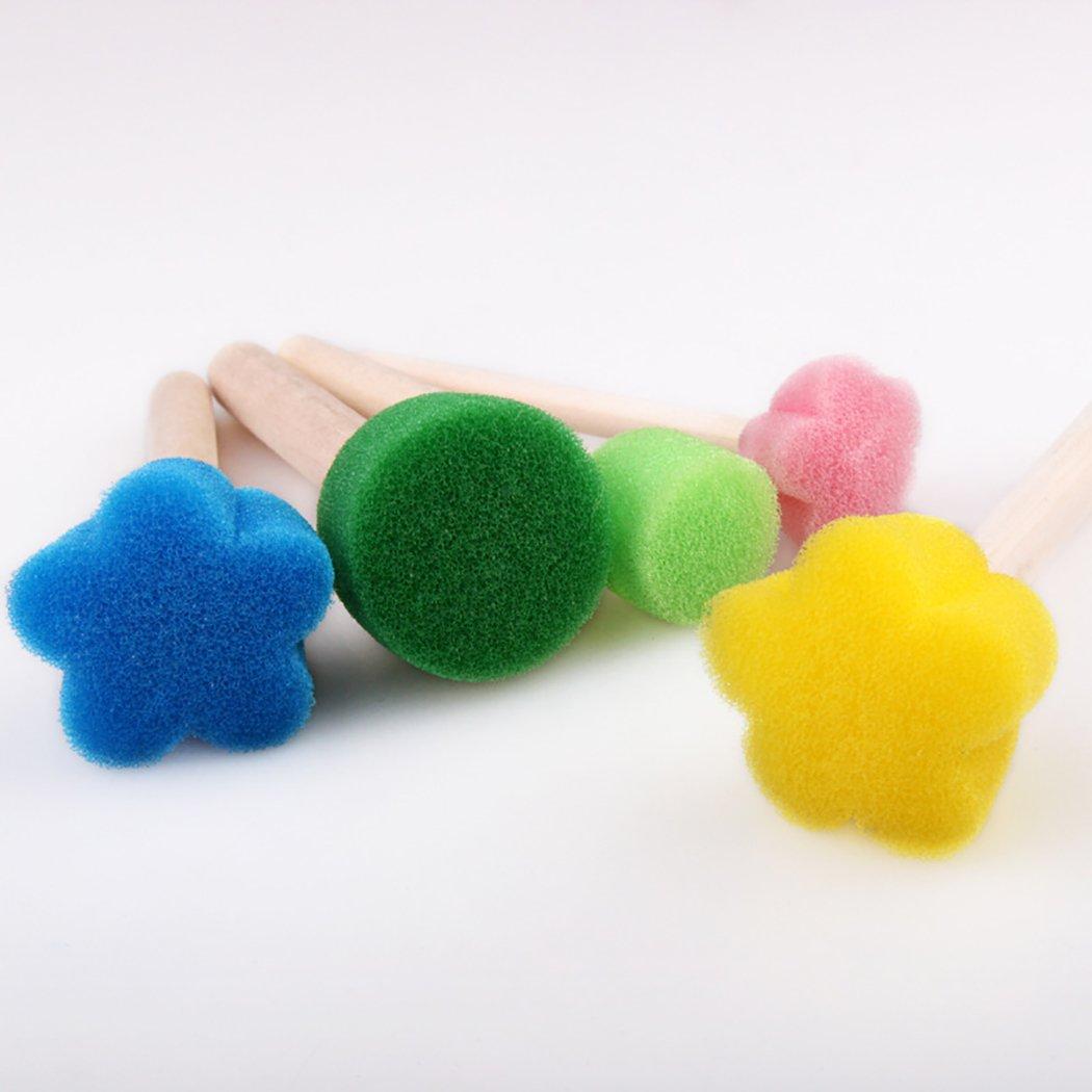 Fansport 25PCS Paint Foam Creative Wood Handle Flower Shape Foam Brush Kids Paint Tool