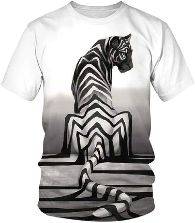 Camisa de compresión para Hombre Tigre a Rayas 骷髅 Estampado Digital Zhang Yang Personalidad Short T Top: Amazon.es: Ropa y accesorios