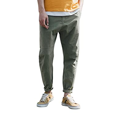 f5c5d5da9737 semen Men Casual Ankle Pants Trousers Relaxed Fit Cropped Pants Linen Summer  Tapered Ankle Length Pants  Amazon.co.uk  Clothing