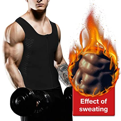6ae654ef8e HEYME Mens Sauna Waist Trainer Corset Vest with Zipper for Weight Loss Hot  Sweat Neoprene Body