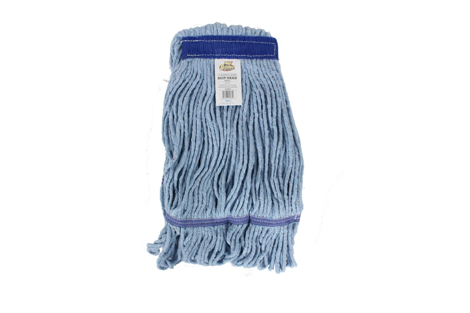 Bristles Wet Mop Head Loop End Replacement, 1 Inch Narrow Headband, 4 Ply Cotton Synthetic Yarn, Pack of 12 (Large, Blue)