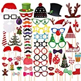 TINKSKY 62 Pcs Christmas Photo Booth Props for Christmas Party Favors & Supplies