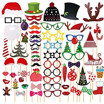 TINKSKY 62 Pcs 2018 New Years Photo Booth Props for New Years Eve Party Favors Decoration & Supplies