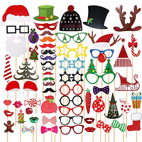 TINKSKY 62 Pcs Christmas Photo Booth Props for Christmas Party Favors & Supplies  (For Games Themed Christmas Groups)