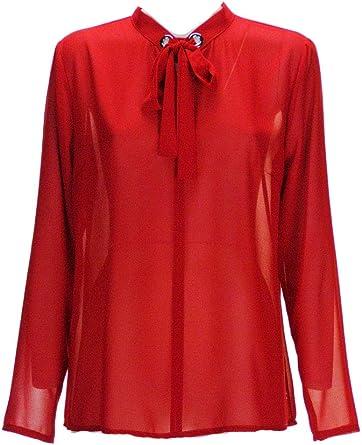 Rebeka - Camisa para Mujer, Color Rojo, Fabricada en Italia Rojo 42: Amazon.es: Ropa y accesorios
